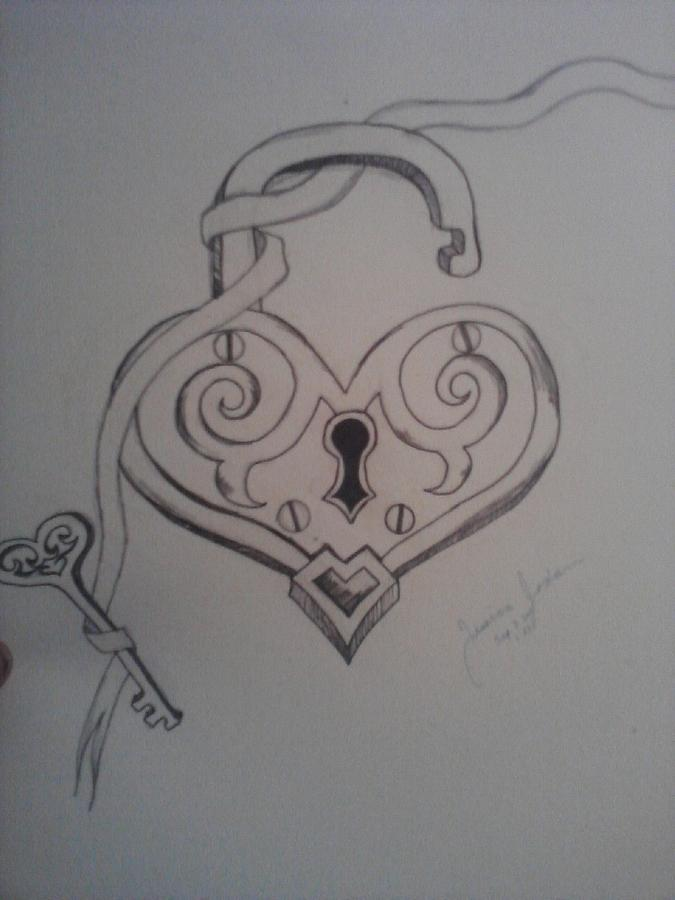 It is an image of Handy Heart Lock And Key Drawing