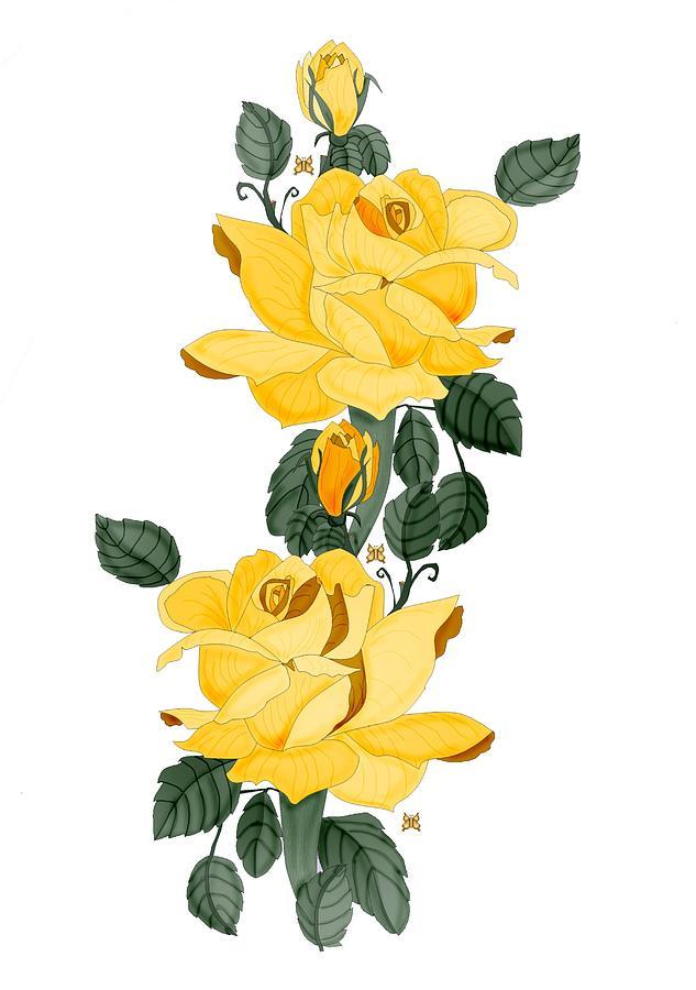Yellow Roses Digital Art - Locked in Color by Anne V Norskog