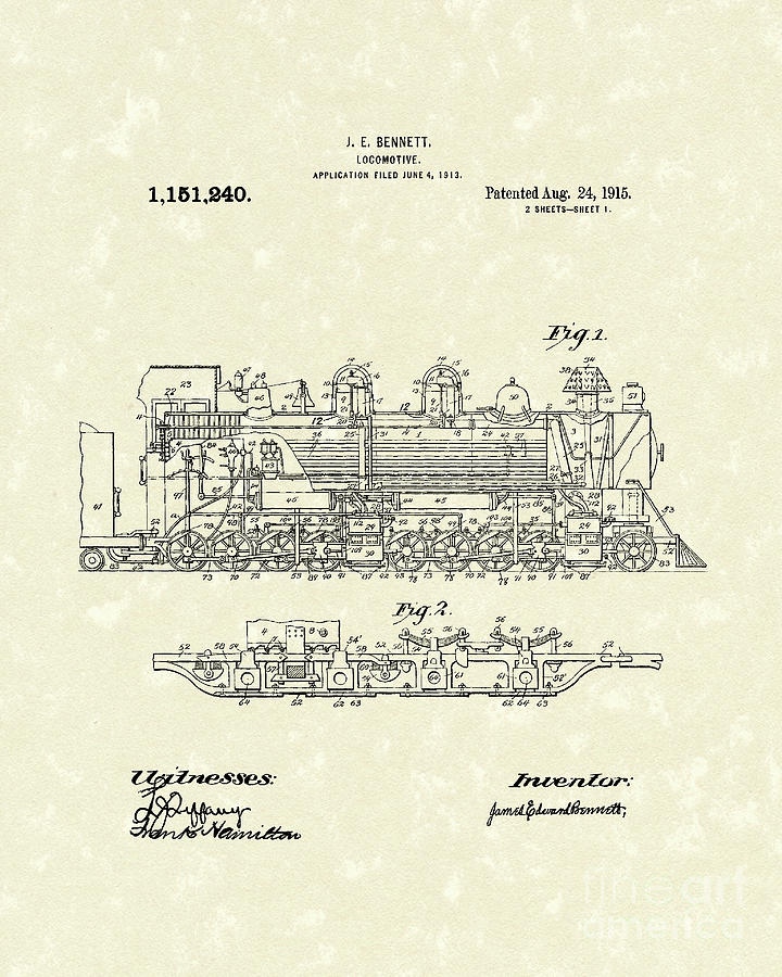Bennett Drawing - Locomotive 1915 Patent Art by Prior Art Design