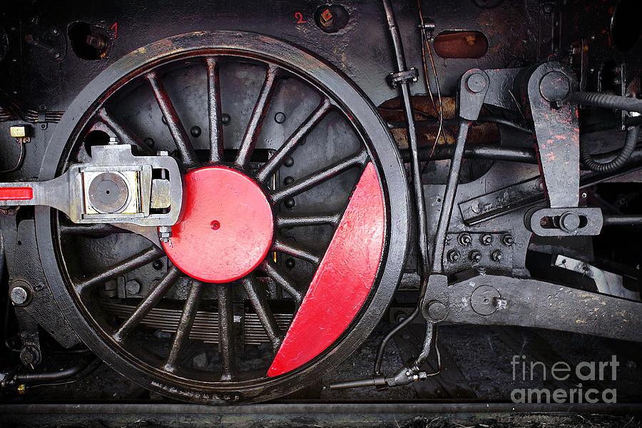 Antique Photograph - Locomotive Wheel by Carlos Caetano