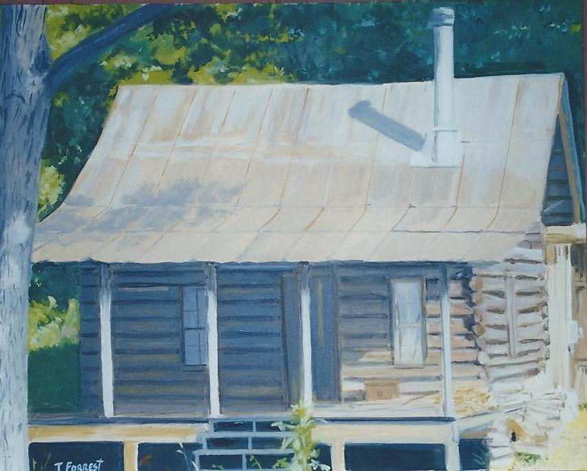 Log Cabin In Blue Ridge North Georgia Painting By Terry