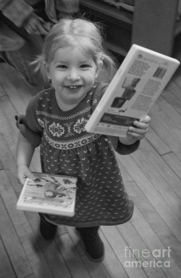 Girl Photograph - Log Cabin Library 2 by Jim Wright