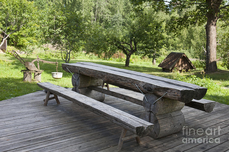 Architectural Detail Photograph   Log Picnic Table By Jaak Nilson