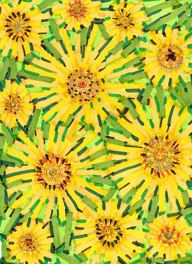 Loire Drawing - Loire Sunflowers Two by Jason Messinger
