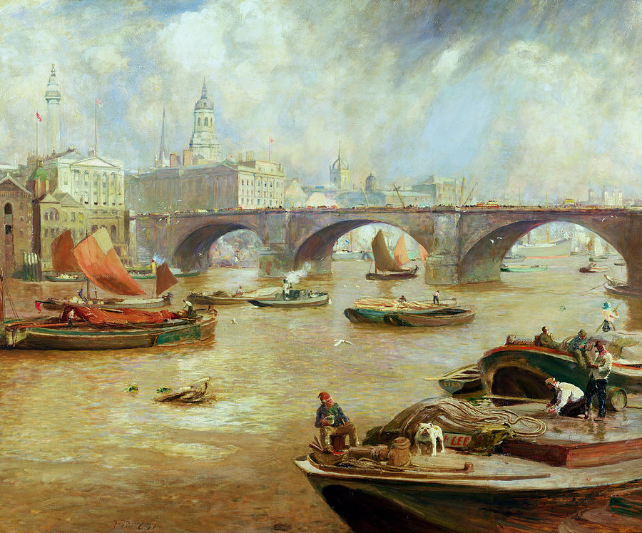 River Thames Painting - London Bridge From Bankside by Sir David Murray