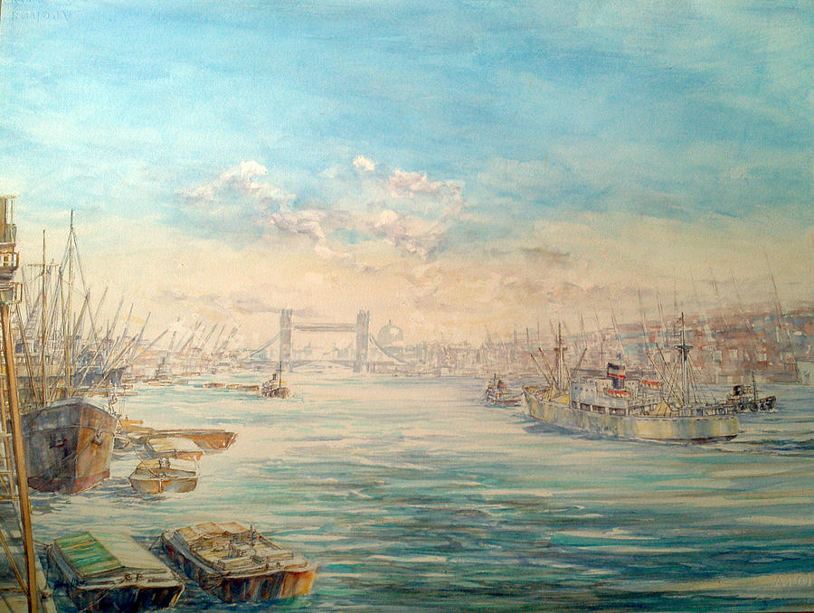 Ship Painting - London Dawn by Jw