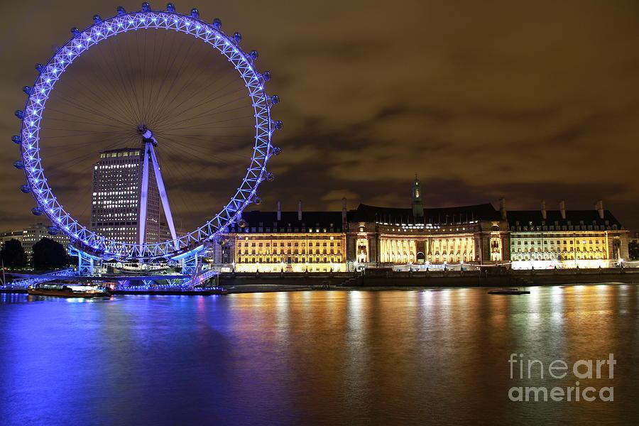 London Eye Photograph - London Eye @ Night by Ronald Monong