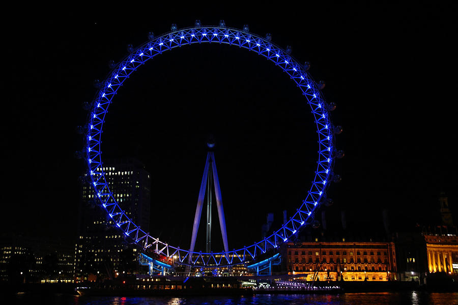 London Eye All Done Up In Blue Light In The Night With A