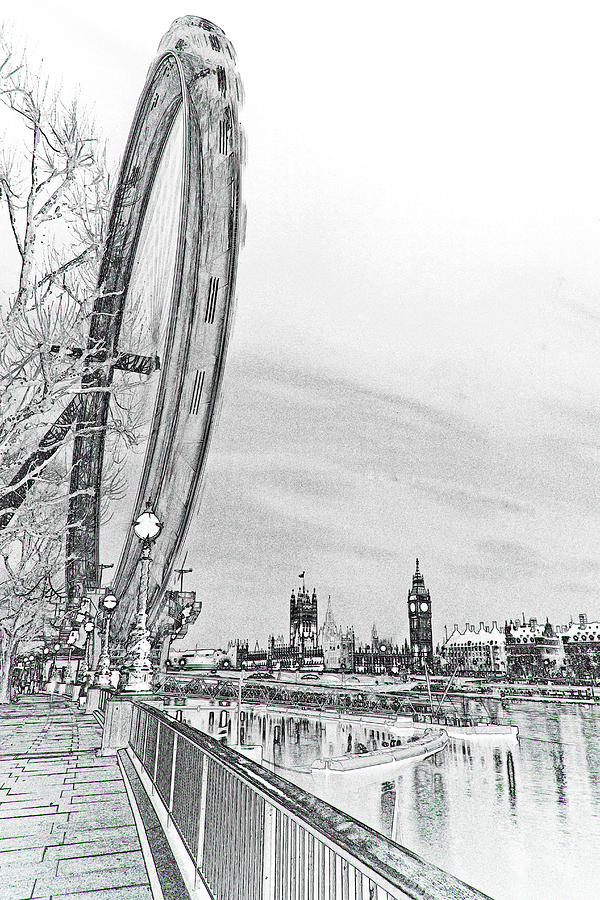 London Digital Art - London Eye And Westminster Art by David Pyatt