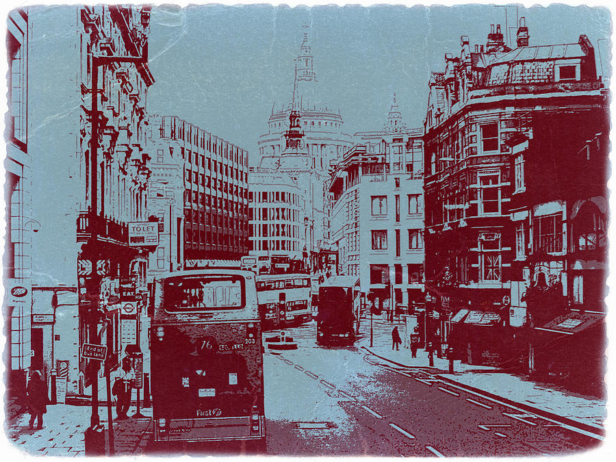 London Photograph - London Fleet Street by Naxart Studio
