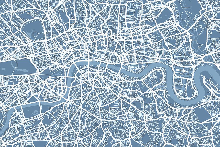 London Digital Art - London Map Art Steel Blue by Michael Tompsett