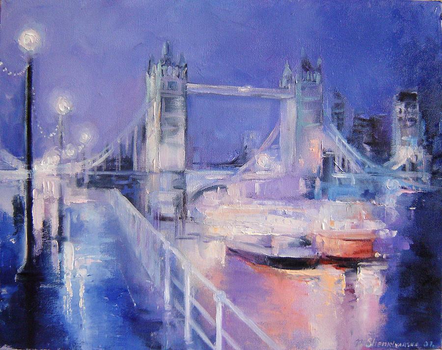 Painting Painting - London Night by Nelya Shenklyarska