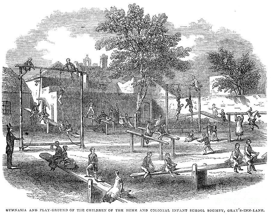 1843 Photograph - London Playground, 1843 by Granger