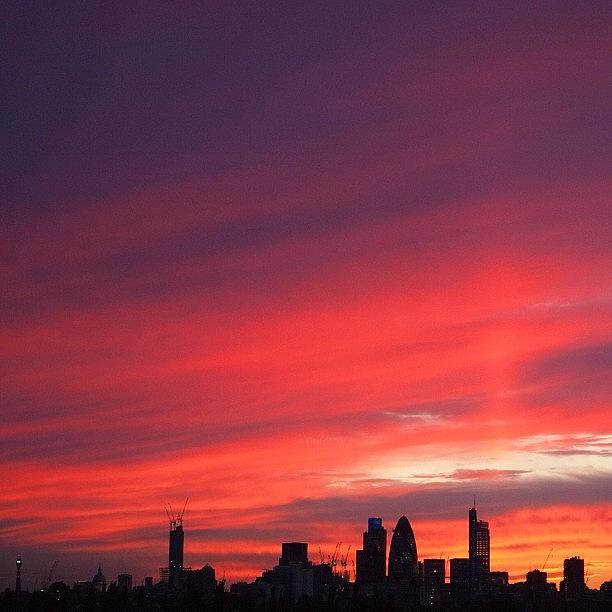 London Photograph - London Skyline : Stunning Sunset #sky by Neil Andrews