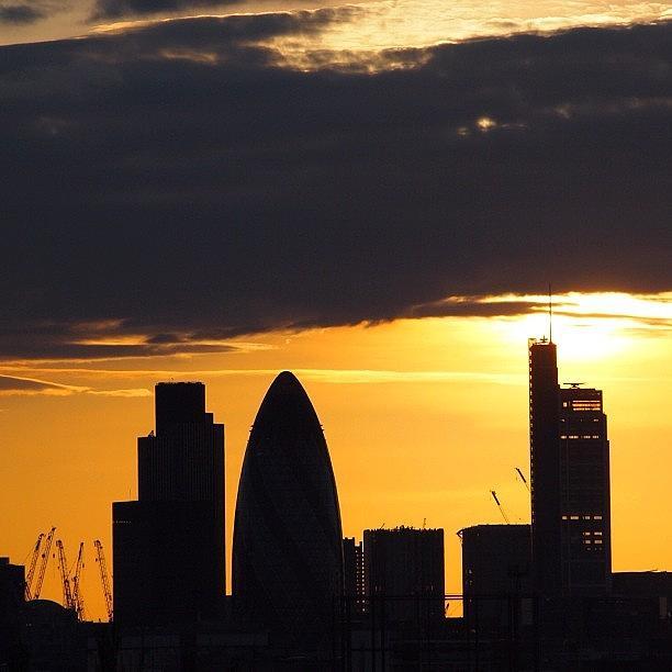 London Photograph - London Skyline : Yellow Sunset. #sunset by Neil Andrews