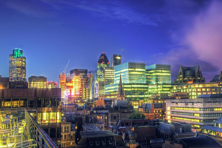 Horizontal Photograph - London Skyline At Night by Gregory Warran