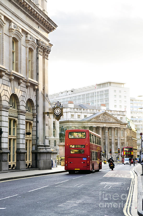 London Photograph - London Street With View Of Royal Exchange Building by Elena Elisseeva