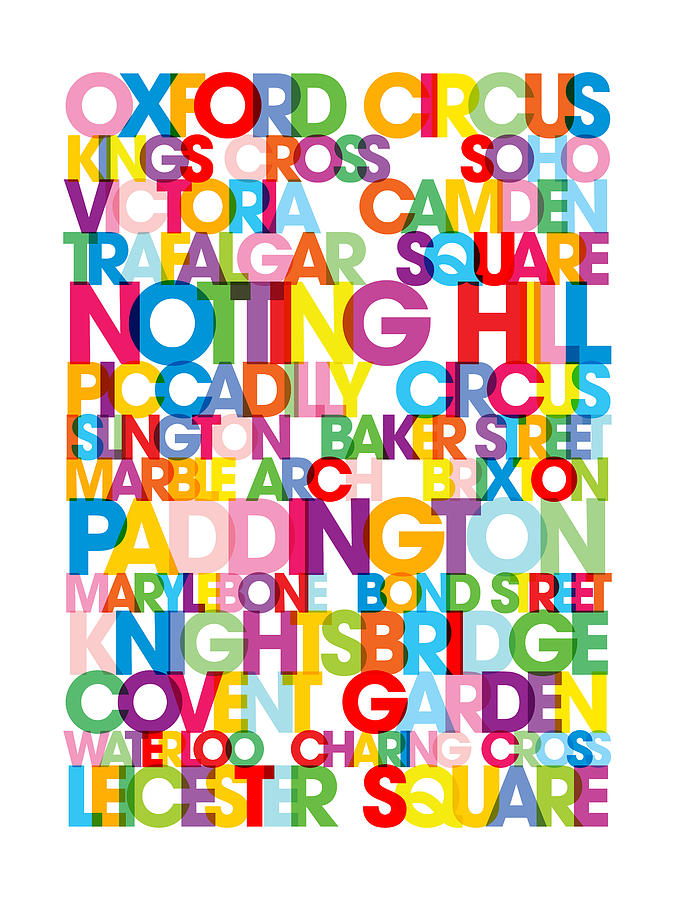 London Digital Art - London Text Bus Blind by Michael Tompsett