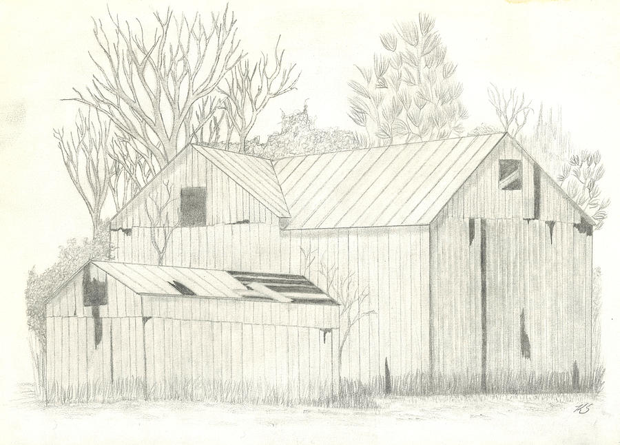 Graphite Drawing - Lone Barn by Keith Sachs