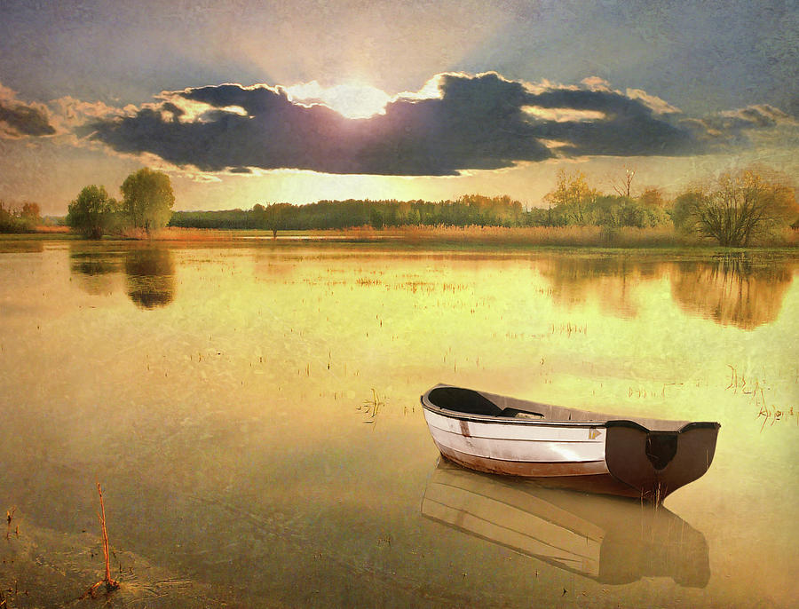 Horizontal Photograph - Lonely Boat by JimPix