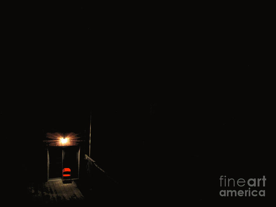 Night Photograph - Lonely Red Chair by Chris Traber