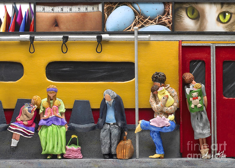 Subway Sculpture - Lonely Travelers - Crop Of Original - To See Complete Artwork Click View All by Anne Klar