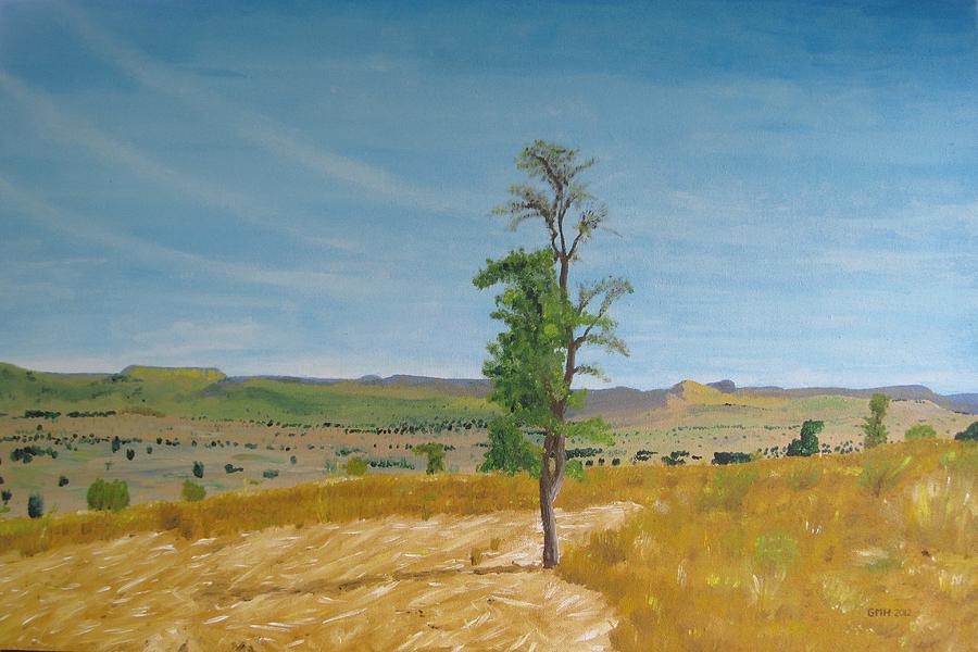 Africa Painting - Lonely Tree In Africa by Glenn Harden