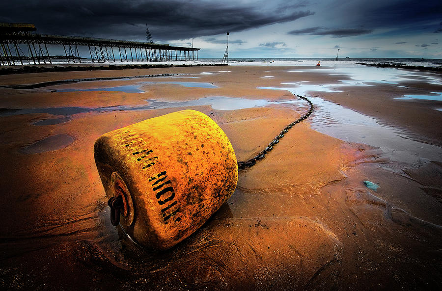 Buoy Photograph - Lonely Yellow Buoy by Meirion Matthias