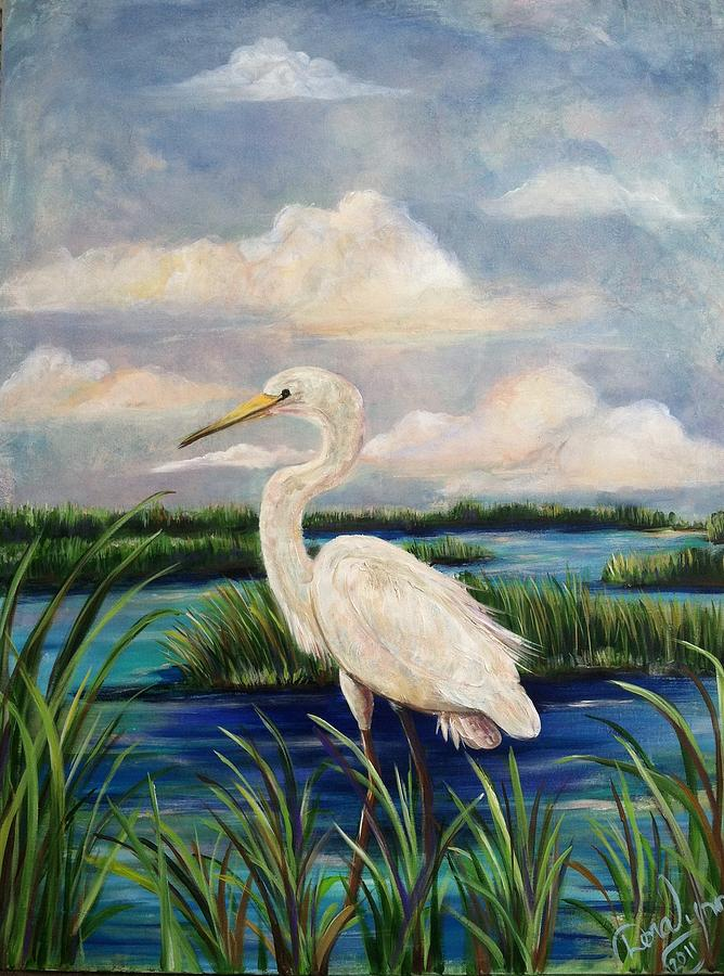 Egret Painting - Lonesome Egret by Doralynn Lowe