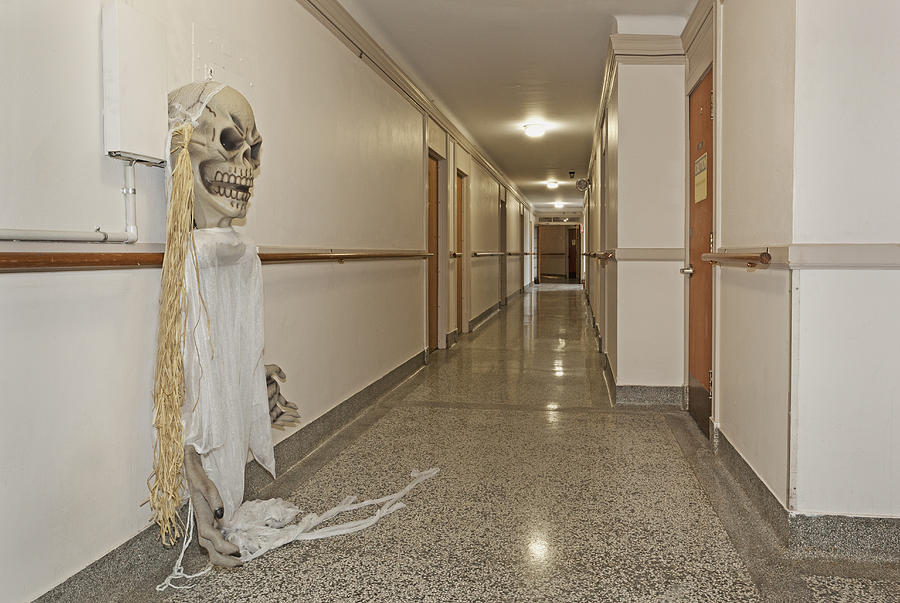 The Past Photograph - Long Hallway In 1927 Building by Douglas Orton