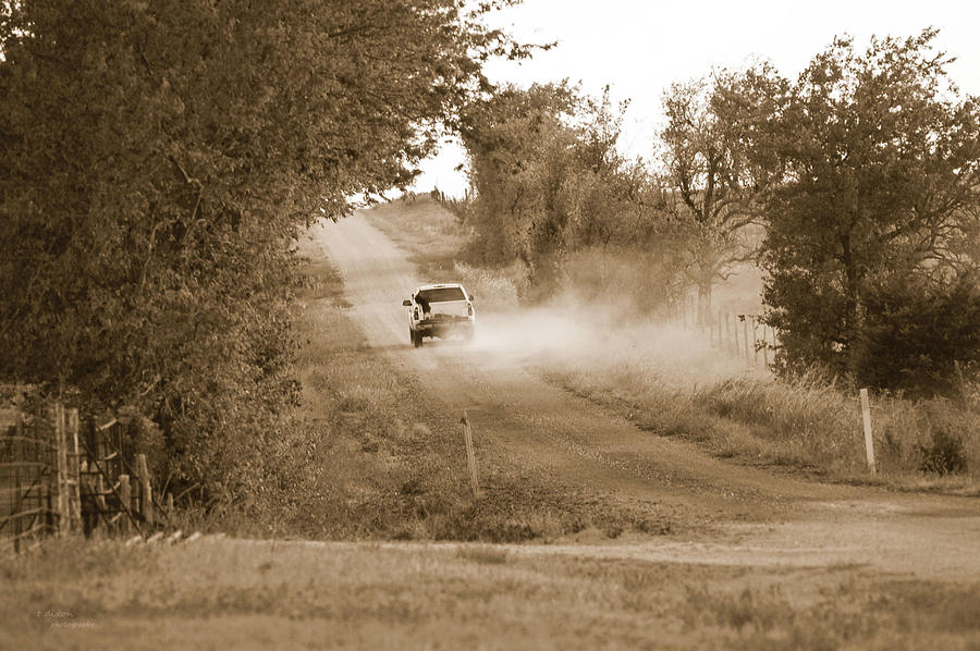 Dirt Road Photograph - Long Road Home by Teresa Dixon