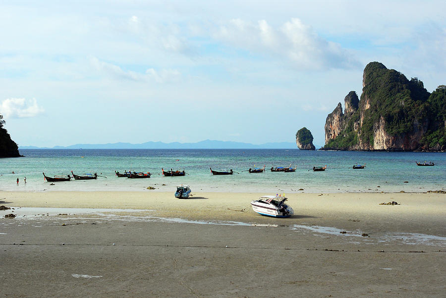 Horizontal Photograph - Long Tail Boats In Bay Of Phi Phi, Thailand by Thepurpledoor