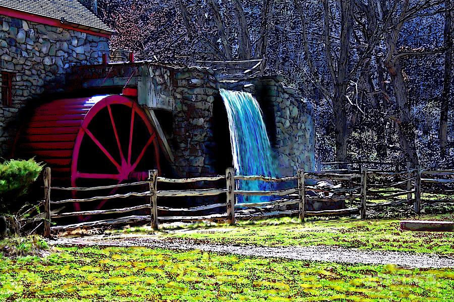 Gristmill Painting - Longfellows Wayside Gristmill Painting 2 by Earl Jackson