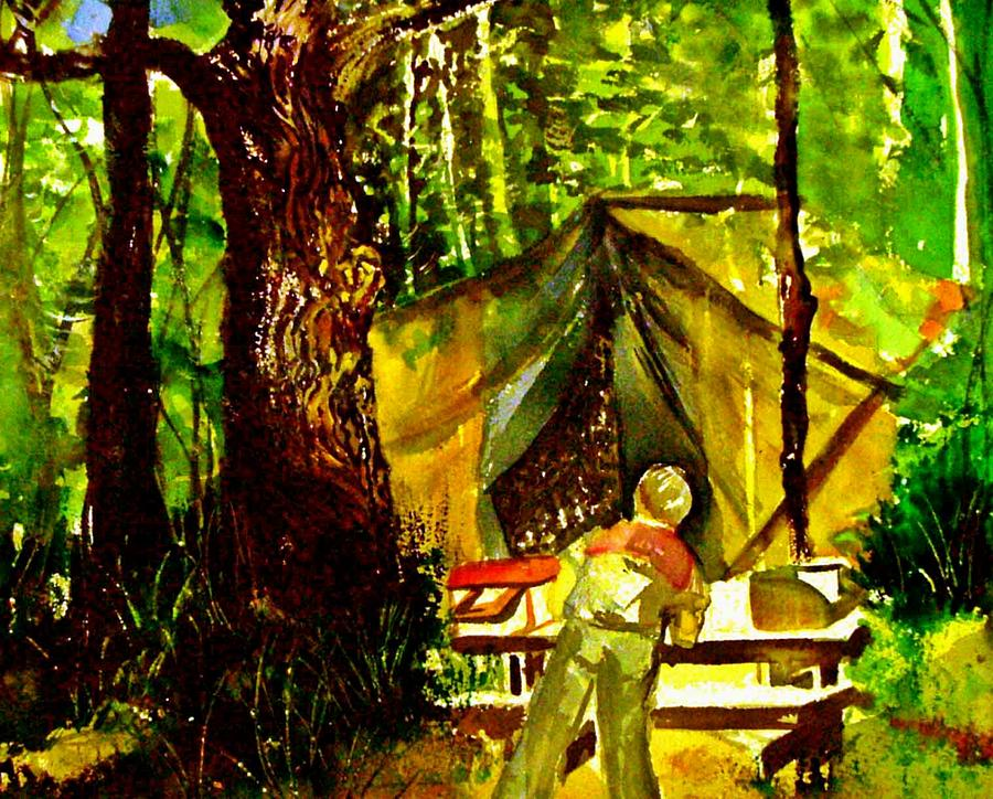 Camping Painting - Look Out Rock Tennessee by Mindy Newman