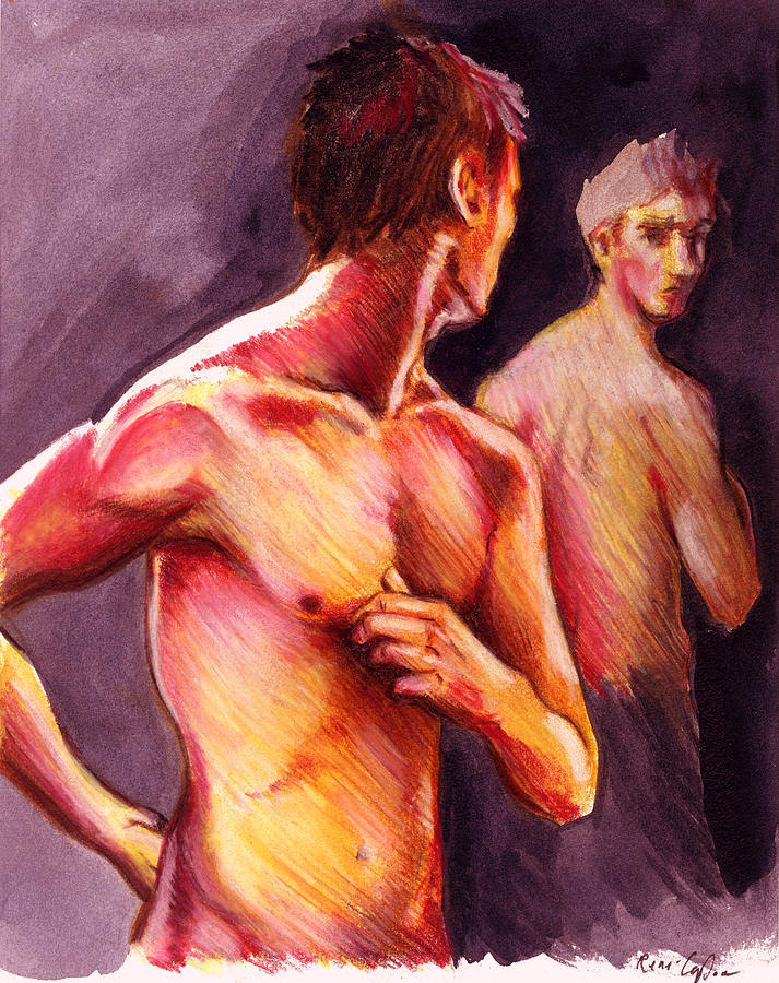 Figure Drawing Painting - Look Over Your Shoulder by Rene Capone