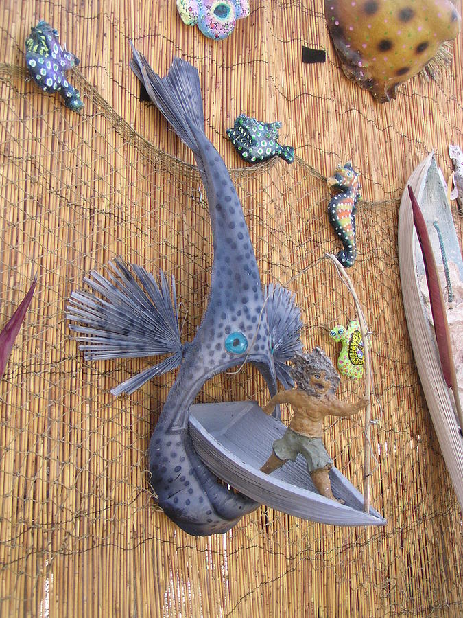 Fishing Mixed Media - Look Whos Coming For Dinner by Dan Townsend