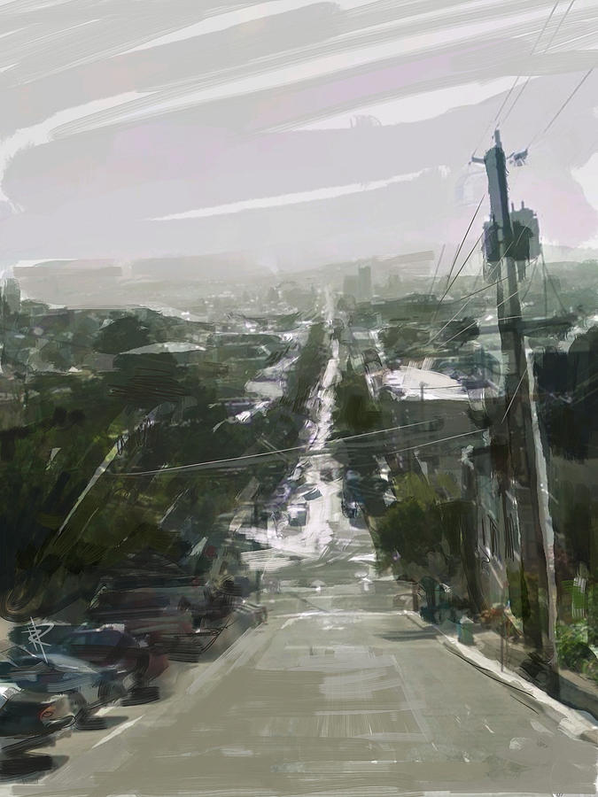 Dolores Street Mixed Media - Looking Down Dolores by Russell Pierce