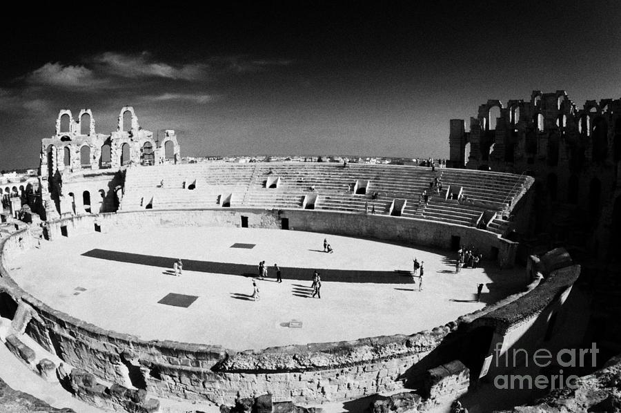 Tunisia Photograph - Looking Down On Main Arena Of Old Roman Colloseum El Jem Tunisia by Joe Fox