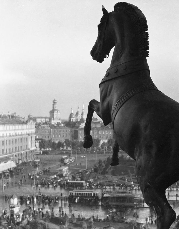 Street Scenes Photograph - Looking Down On The Sverdlov Square by Maynard Owen Williams