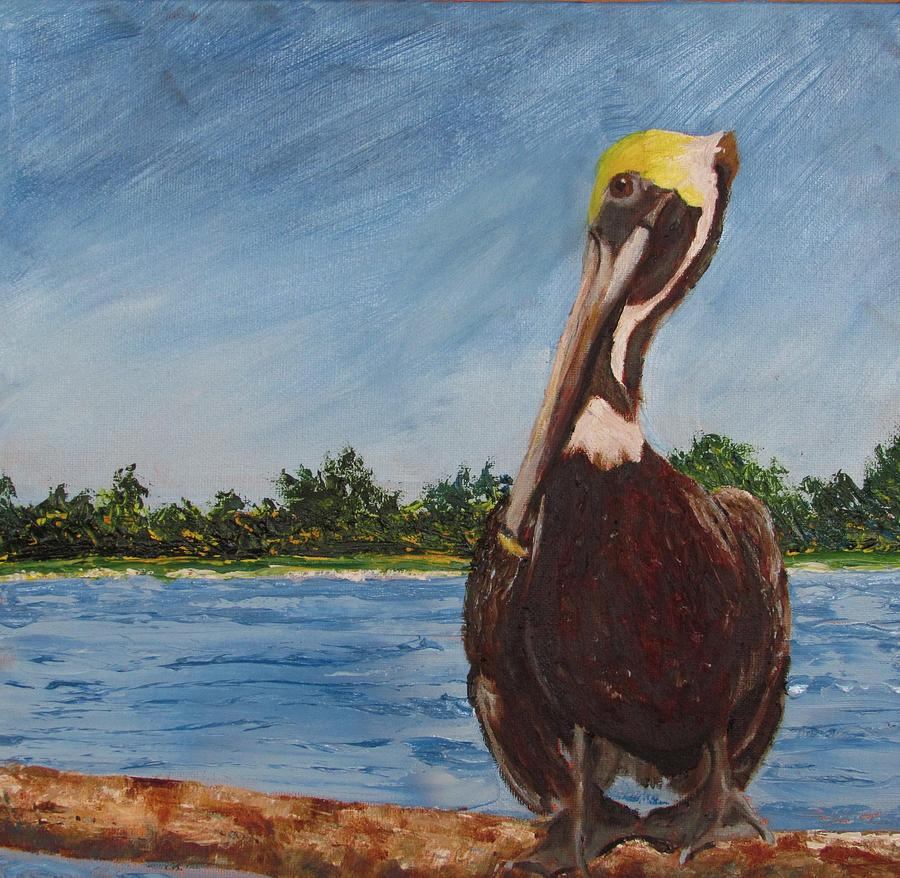 Pelican Painting - Looking for a Handout by Libby  Cagle