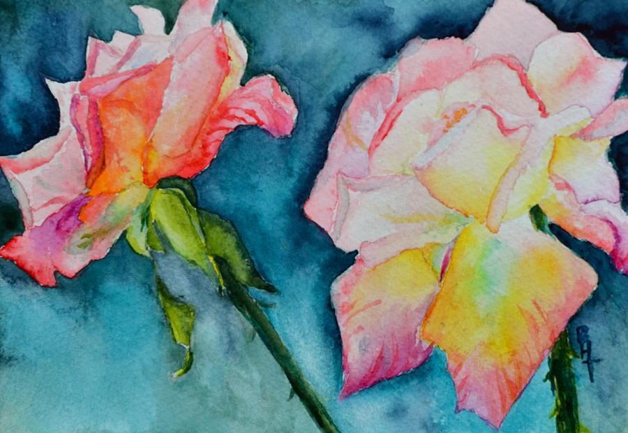 Rose Painting - Looking Forward Looking Back by Beverley Harper Tinsley