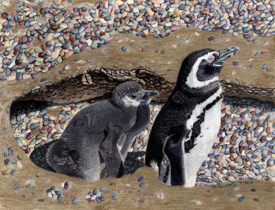 Penguin Painting - Looking Out For You - Penguins by Patricia Barmatz