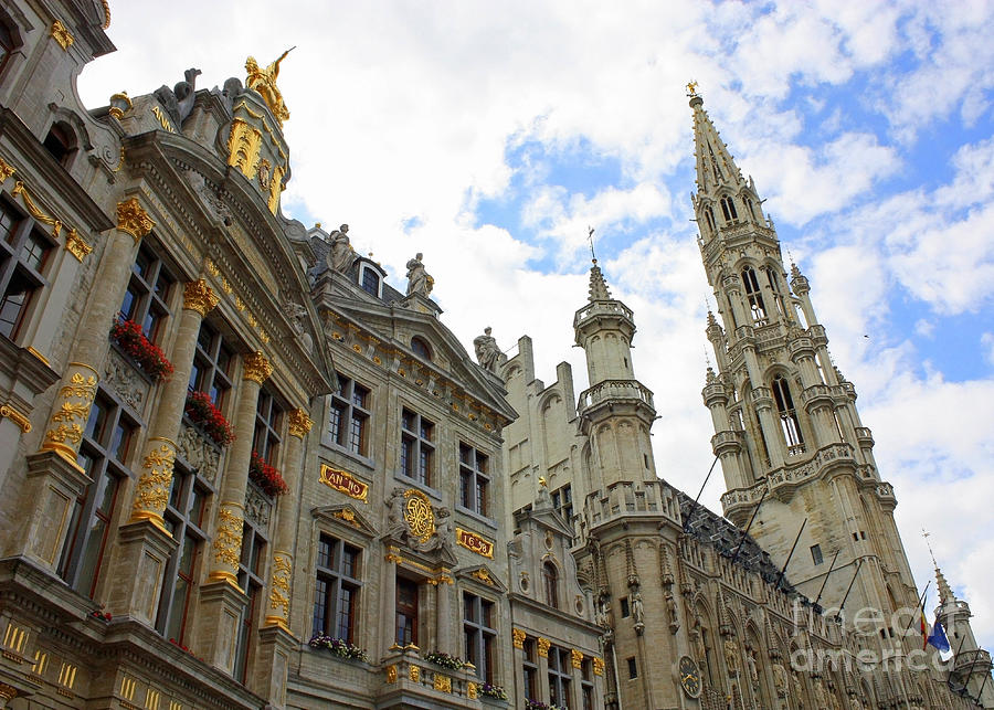 Grand Place Photograph - Looking Up At The Grand Place by Carol Groenen
