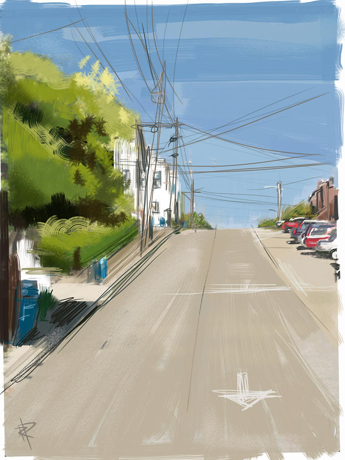San Francisco Mixed Media - Looking Up Dolores Street by Russell Pierce