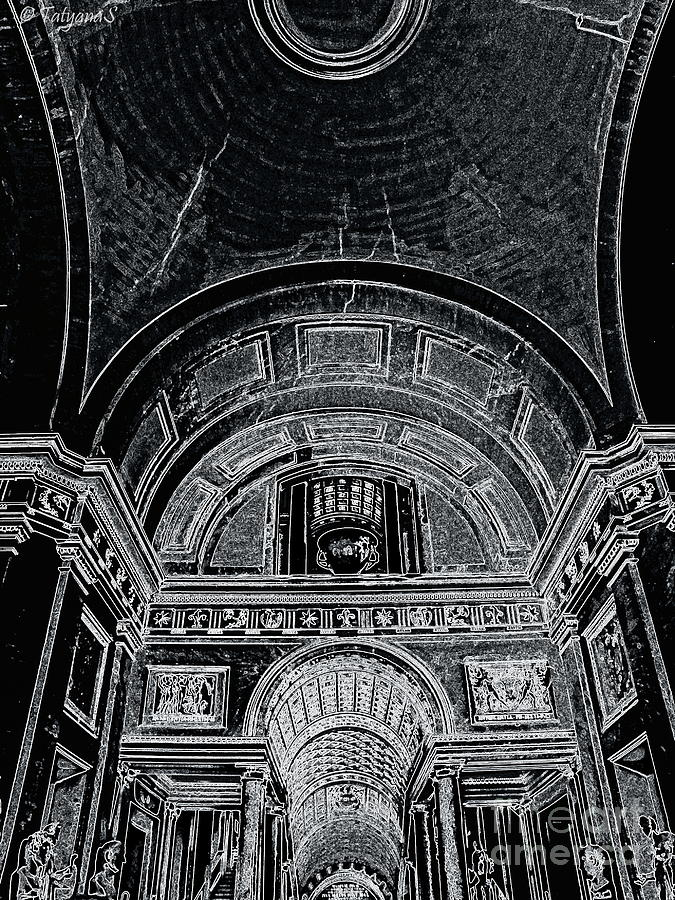 Architecture Photograph - Looking Up. Vatican. Black by Tanya  Searcy