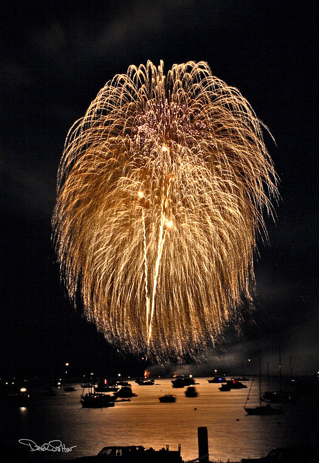 4th Of July Photograph - Lopez Island Fireworks 1 by David Salter
