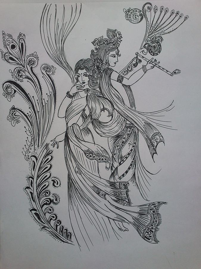 India drawing lord krishna by aditya sarawagi