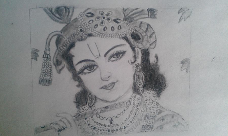 Lord krishna drawing by gnaneswari giridharagopalan