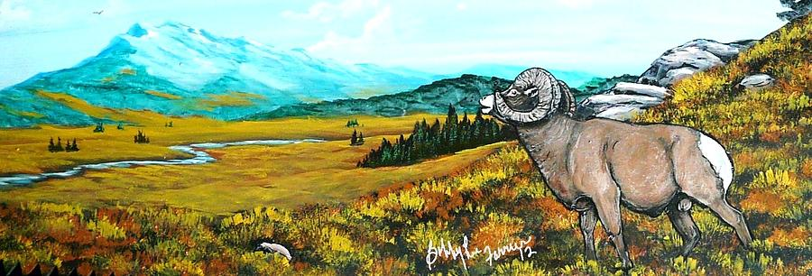 Mountain Sheep Painting - Lord Over The Mountains by Bobbylee Farrier