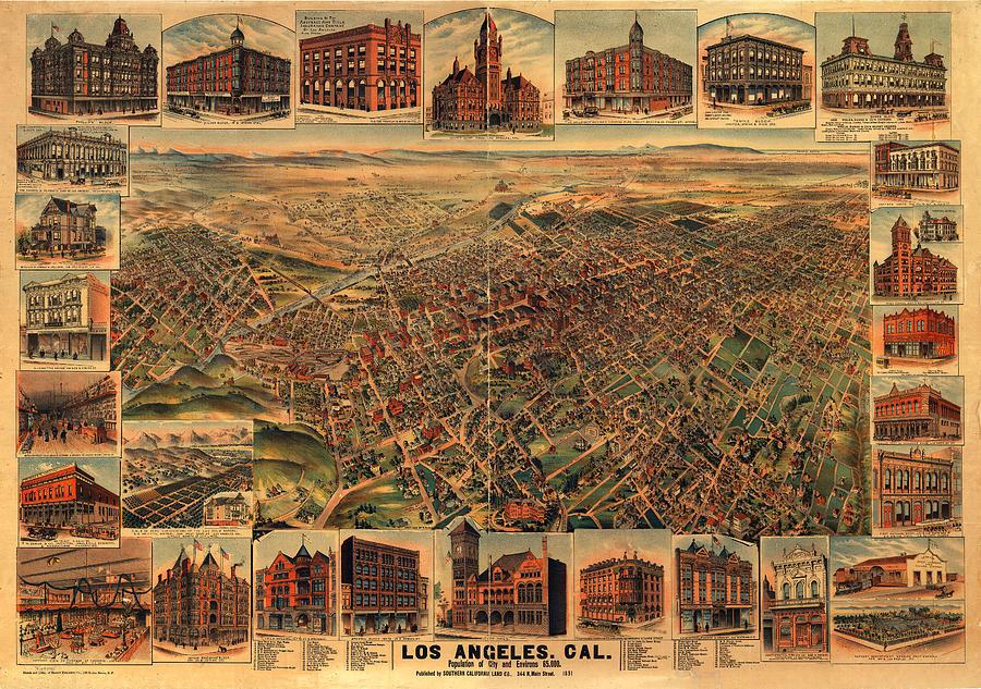 Panoramic Map Digital Art - Los Angeles California 1891 by Donna Leach